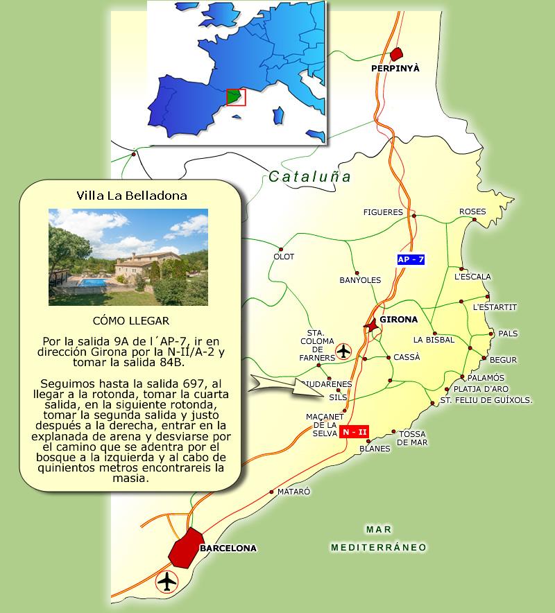 Casa Rural Costa Brava cerca de Barcelona - Mapa Villa La Belladona