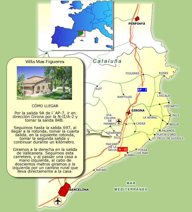 Casa Rural Costa Brava cerca de Barcelona - Mapa Villa Mas Figueres